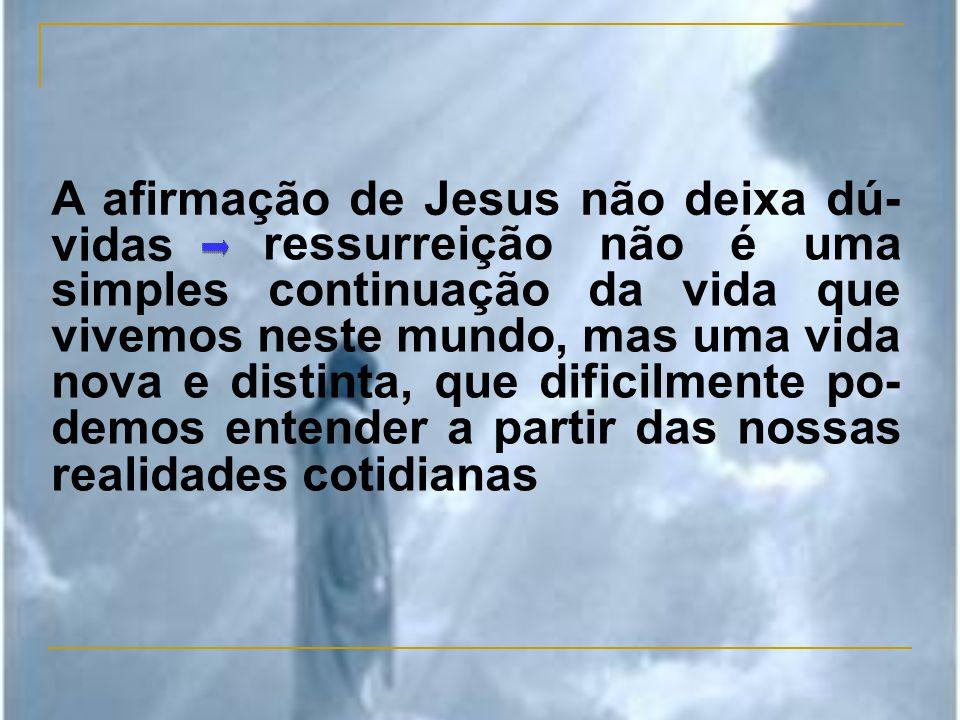 ressurreição não é uma simples continuação da vida que vivemos neste mundo, mas uma vida nova e distinta, que dificilmente po- demos entender a partir das nossas realidades cotidianas A afirmação de Jesus não deixa dú- vidas