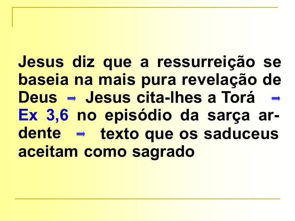 texto que os saduceus aceitam como sagrado Jesus diz que a ressurreição se baseia na mais pura revelação de Deus Jesus cita-lhes a Torá Ex 3,6 no episódio da sarça ar- dente