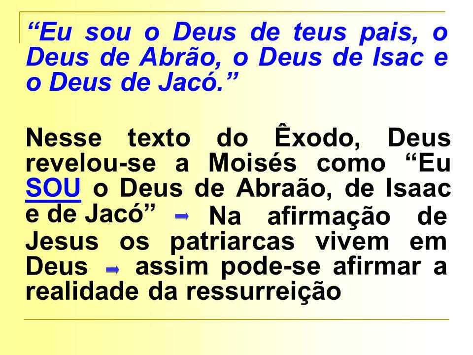 Na afirmação de Jesus os patriarcas vivem em Deus Nesse texto do Êxodo, Deus revelou-se a Moisés como Eu SOU o Deus de Abraão, de Isaac e de Jacó Eu sou o Deus de teus pais, o Deus de Abrão, o Deus de Isac e o Deus de Jacó. assim pode-se afirmar a realidade da ressurreição