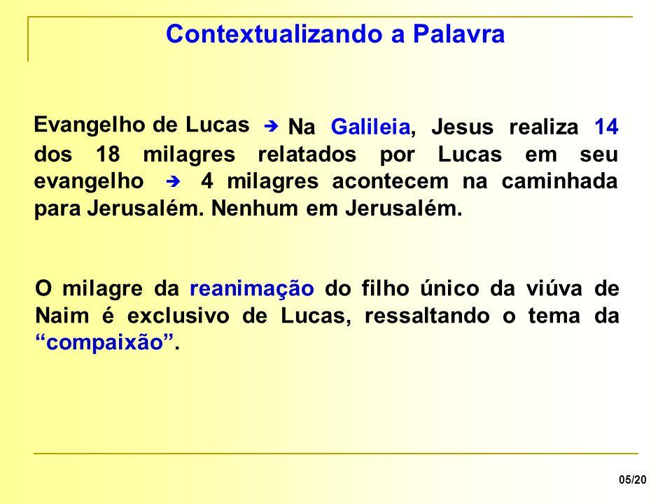 Na Galileia, Jesus realiza 14 dos 18 milagres relatados por Lucas em seu evangelho 4 milagres acontecem na caminhada para Jerusalém. Nenhum em Jerusal
