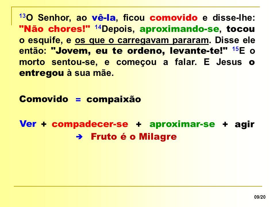 compaixão Comovido 09/20 +  = Ver 13 O Senhor, ao vê-la, ficou comovido e disse-lhe:
