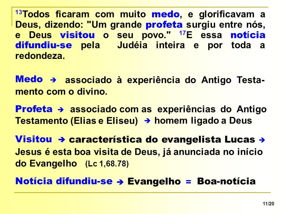 característica do evangelista Lucas associado à experiência do Antigo Testa- mento com o divino. 11/20  Medo 13 Todos ficaram com muito medo, e glori