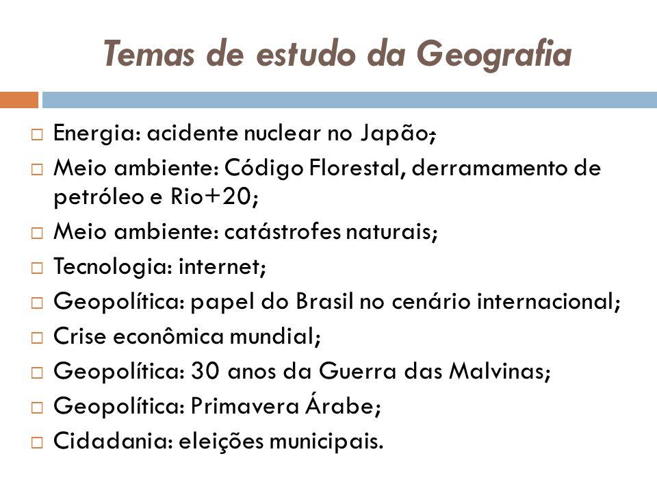 Temas de estudo da Geografia  Energia: acidente nuclear no Japão;  Meio ambiente: Código Florestal, derramamento de petróleo e Rio+20;  Meio ambien