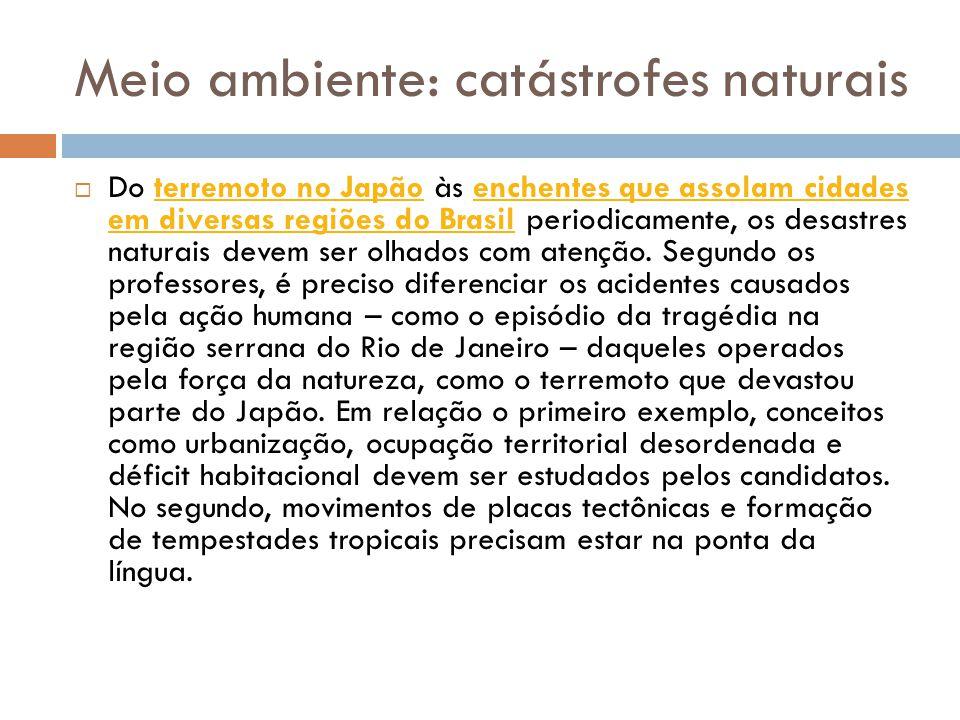 Meio ambiente: catástrofes naturais  Do terremoto no Japão às enchentes que assolam cidades em diversas regiões do Brasil periodicamente, os desastres naturais devem ser olhados com atenção.