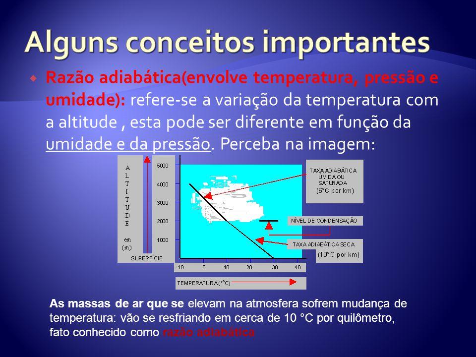  Razão adiabática(envolve temperatura, pressão e umidade): refere-se a variação da temperatura com a altitude, esta pode ser diferente em função da u