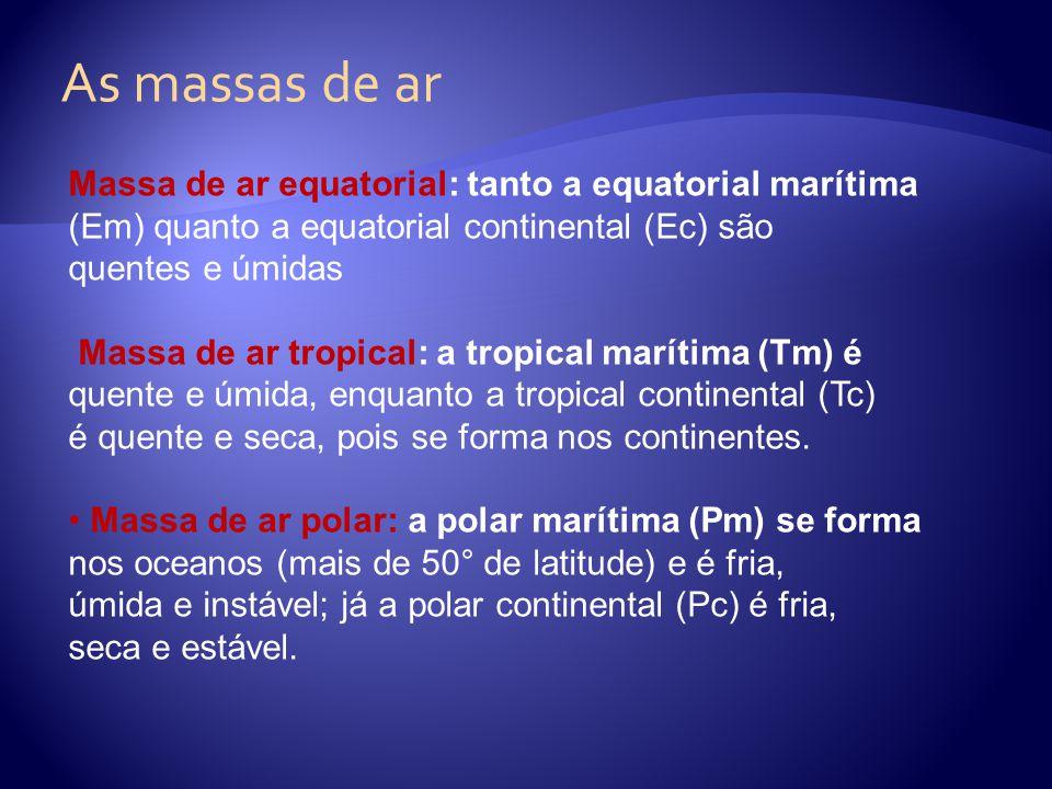 As massas de ar Massa de ar equatorial: tanto a equatorial marítima (Em) quanto a equatorial continental (Ec) são quentes e úmidas Massa de ar tropica