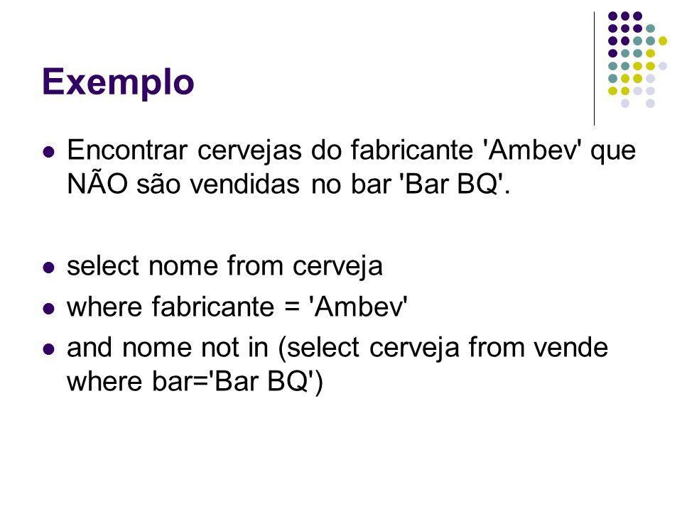 Exemplo Encontrar cervejas do fabricante Ambev que NÃO são vendidas no bar Bar BQ .