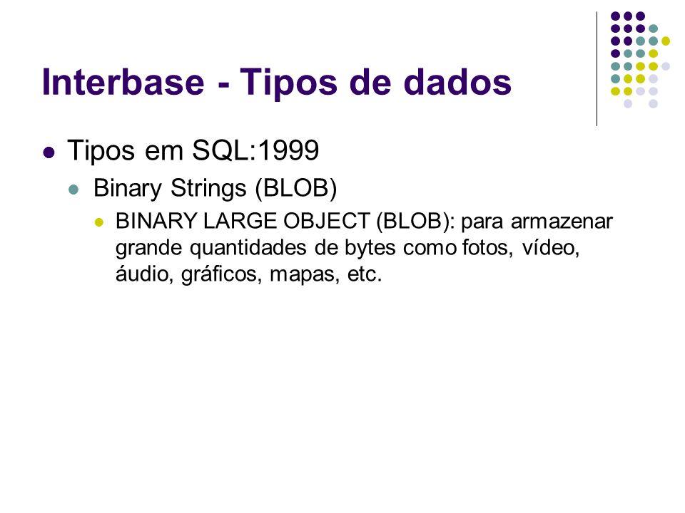 Interbase - Tipos de dados Tipos em SQL:1999 Binary Strings (BLOB) BINARY LARGE OBJECT (BLOB): para armazenar grande quantidades de bytes como fotos, vídeo, áudio, gráficos, mapas, etc.