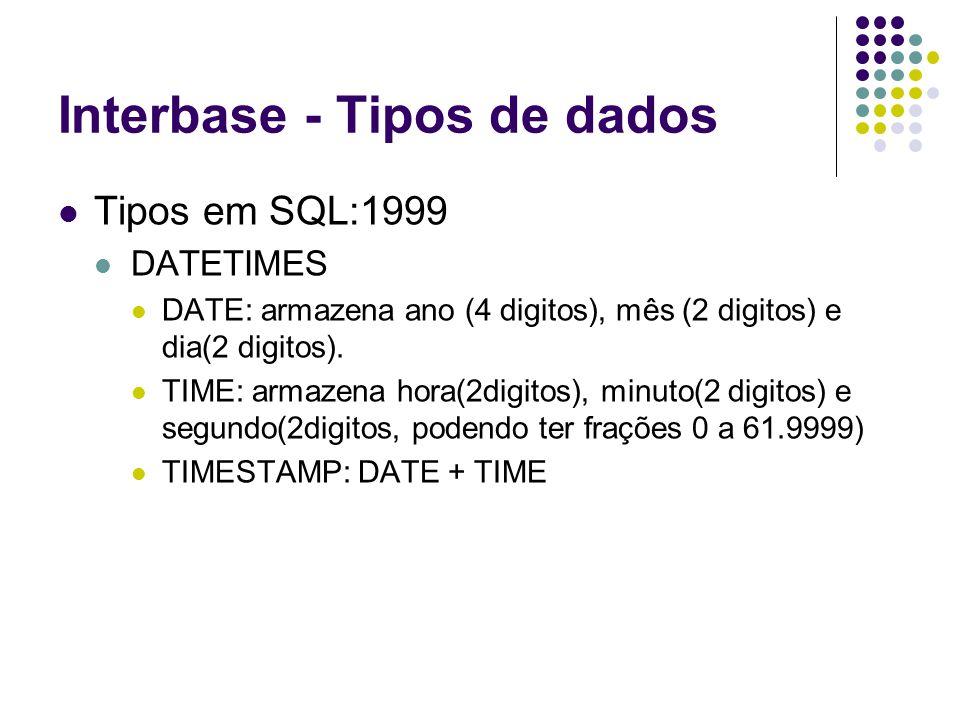 Interbase - Tipos de dados Tipos em SQL:1999 DATETIMES DATE: armazena ano (4 digitos), mês (2 digitos) e dia(2 digitos).