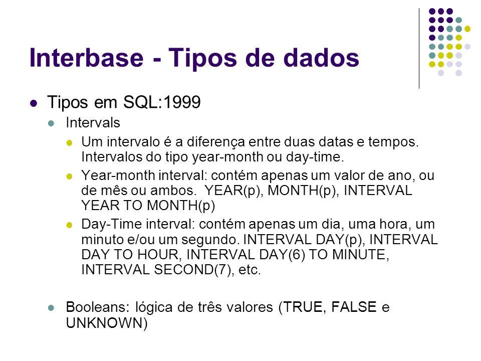 Interbase - Tipos de dados Tipos em SQL:1999 Intervals Um intervalo é a diferença entre duas datas e tempos.