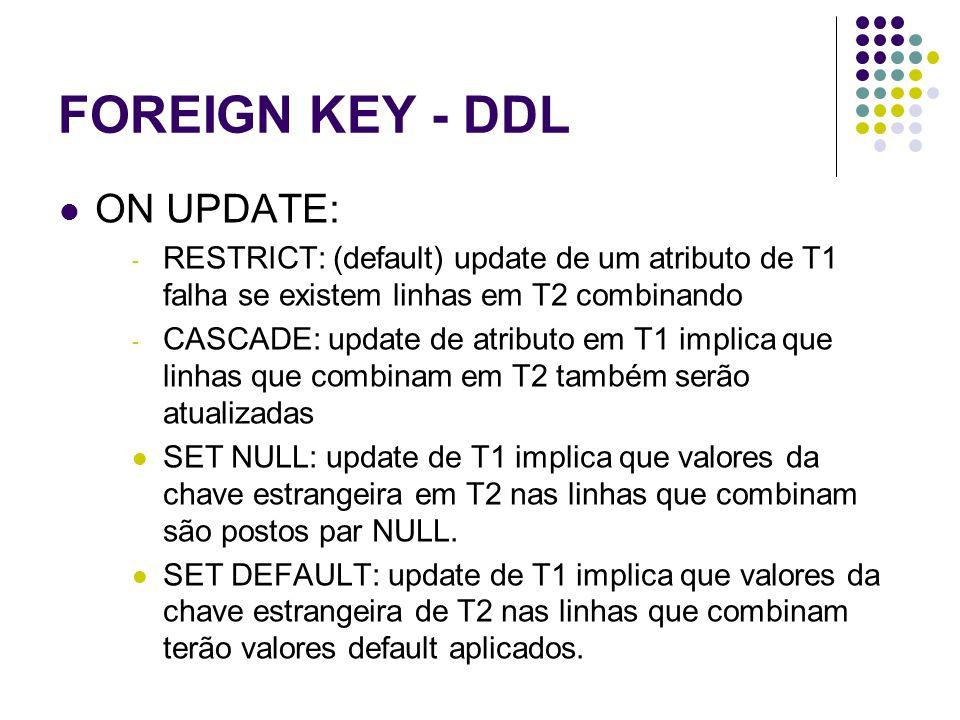FOREIGN KEY - DDL ON UPDATE: - RESTRICT: (default) update de um atributo de T1 falha se existem linhas em T2 combinando - CASCADE: update de atributo em T1 implica que linhas que combinam em T2 também serão atualizadas SET NULL: update de T1 implica que valores da chave estrangeira em T2 nas linhas que combinam são postos par NULL.