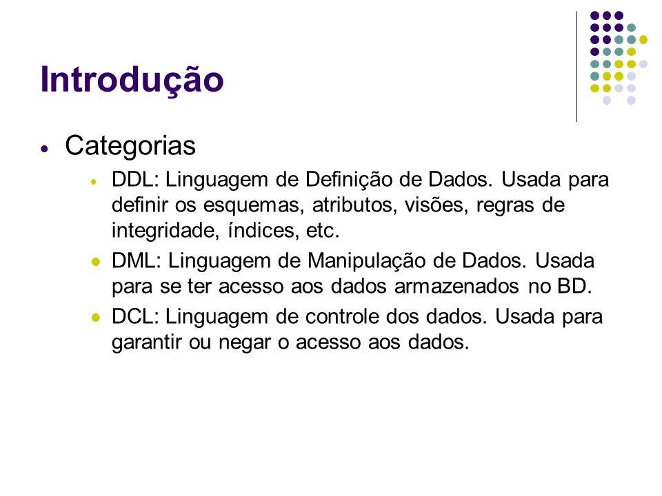 Introdução  Categorias  DDL: Linguagem de Definição de Dados.