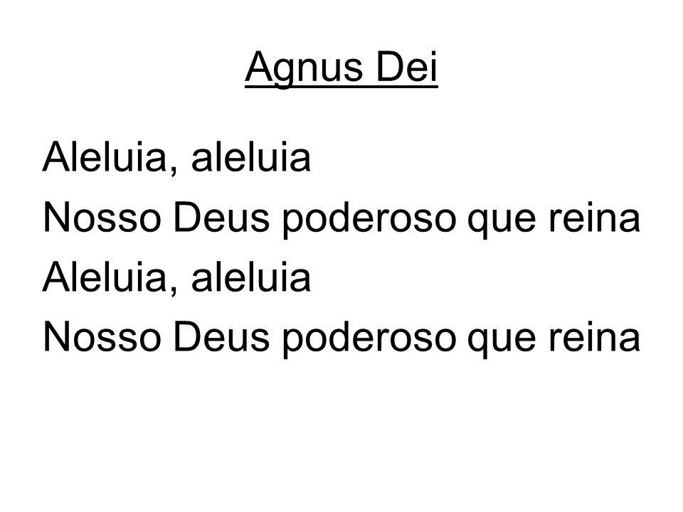 Agnus Dei Aleluia, aleluia Nosso Deus poderoso que reina Aleluia, aleluia Nosso Deus poderoso que reina