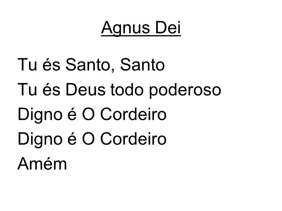Agnus Dei Tu és Santo, Santo Tu és Deus todo poderoso Digno é O Cordeiro Amém