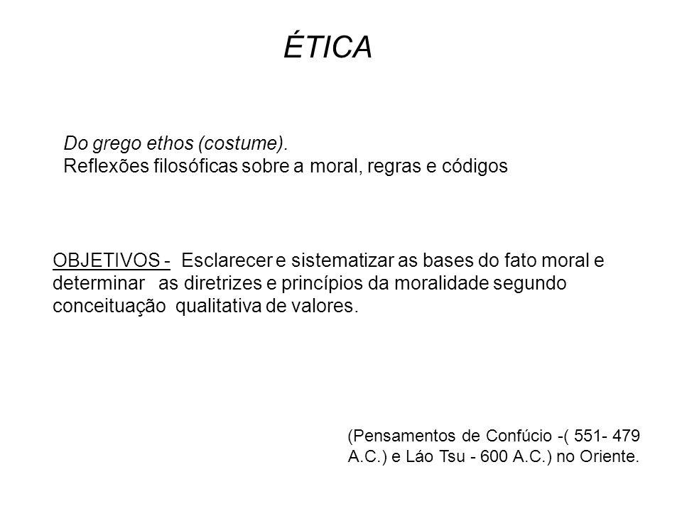 Ética a Nicômacos Ética a Êudemos Magna Moralia No Ocidente (Pré–Socráticos) SÓCRATES - Para ele o homem só prática um ato amoral por ignorância.
