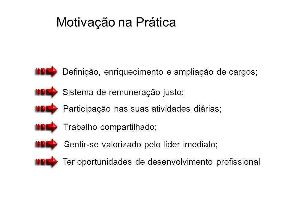 Motivação na Prática Ter oportunidades de desenvolvimento profissional Sistema de remuneração justo; Definição, enriquecimento e ampliação de cargos;
