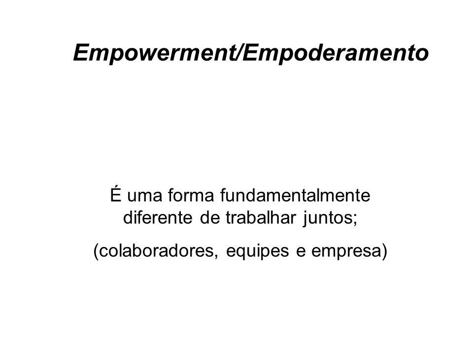 É uma forma fundamentalmente diferente de trabalhar juntos; (colaboradores, equipes e empresa) Empowerment/Empoderamento