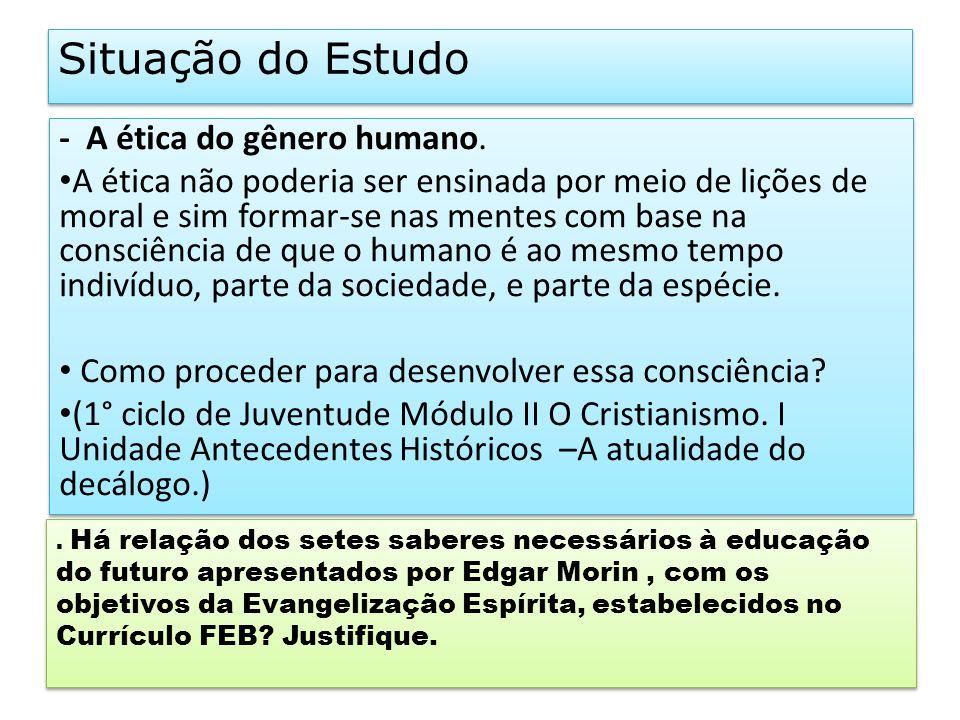 Situação do Estudo - A ética do gênero humano.