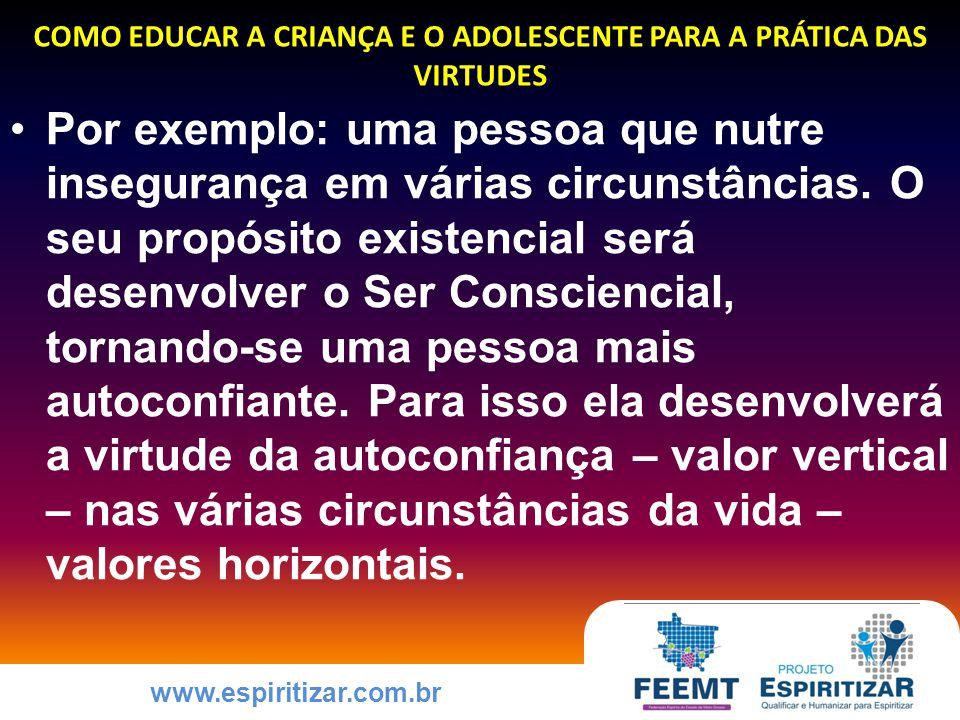 www.espiritizar.com.br COMO EDUCAR A CRIANÇA E O ADOLESCENTE PARA A PRÁTICA DAS VIRTUDES Por exemplo: uma pessoa que nutre insegurança em várias circunstâncias.
