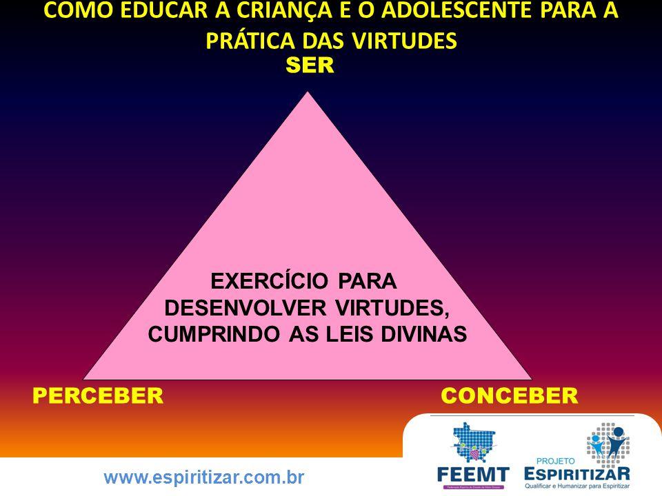 www.espiritizar.com.br COMO EDUCAR A CRIANÇA E O ADOLESCENTE PARA A PRÁTICA DAS VIRTUDES EXERCÍCIO PARA DESENVOLVER VIRTUDES, CUMPRINDO AS LEIS DIVINAS PERCEBER SER CONCEBER