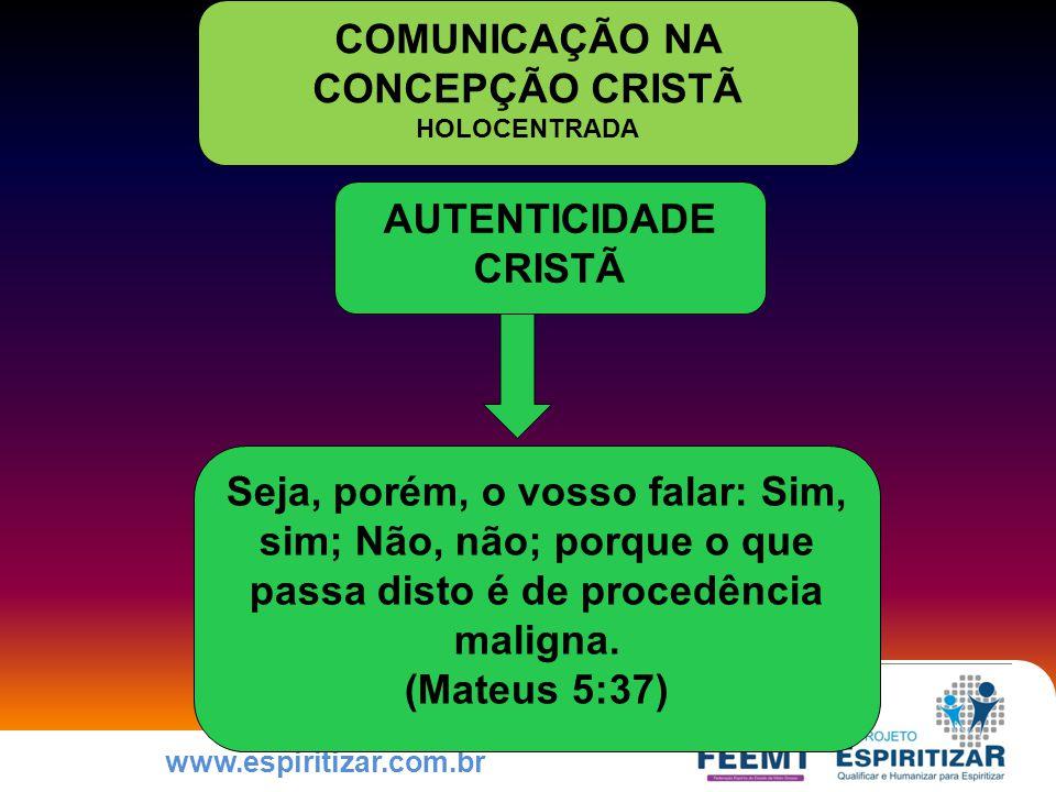 www.espiritizar.com.br AUTENTICIDADE CRISTÃ Seja, porém, o vosso falar: Sim, sim; Não, não; porque o que passa disto é de procedência maligna.