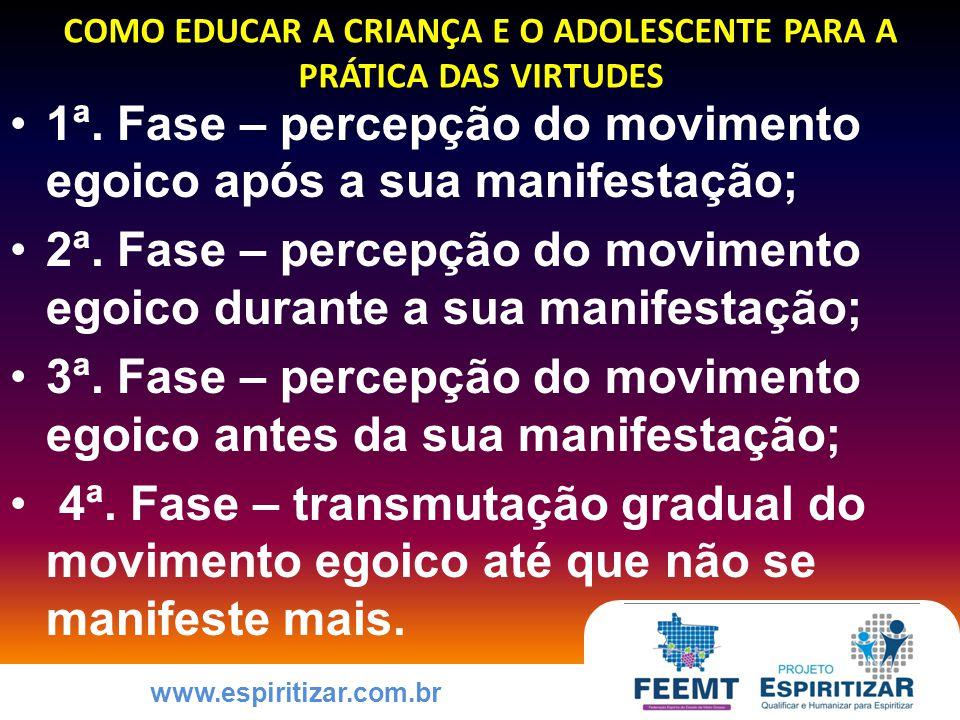 www.espiritizar.com.br COMO EDUCAR A CRIANÇA E O ADOLESCENTE PARA A PRÁTICA DAS VIRTUDES 1ª.