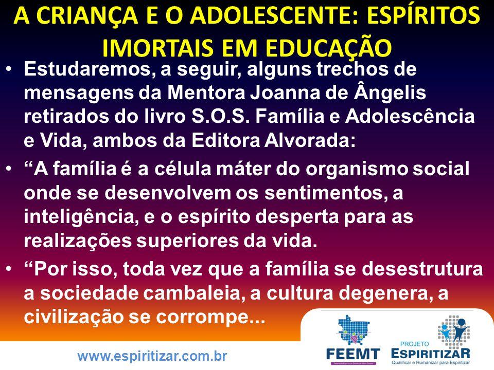 www.espiritizar.com.br COMO EDUCAR A CRIANÇA E O ADOLESCENTE PARA A PRÁTICA DAS VIRTUDES ESTRUTURAS PSÍQUICAS DO ESPÍRITO ENCARNADO EM EQUILÍBRIO EXISTENCIAL Adulto Egoico sublimado Criança Interna Feliz Adulto Essencial