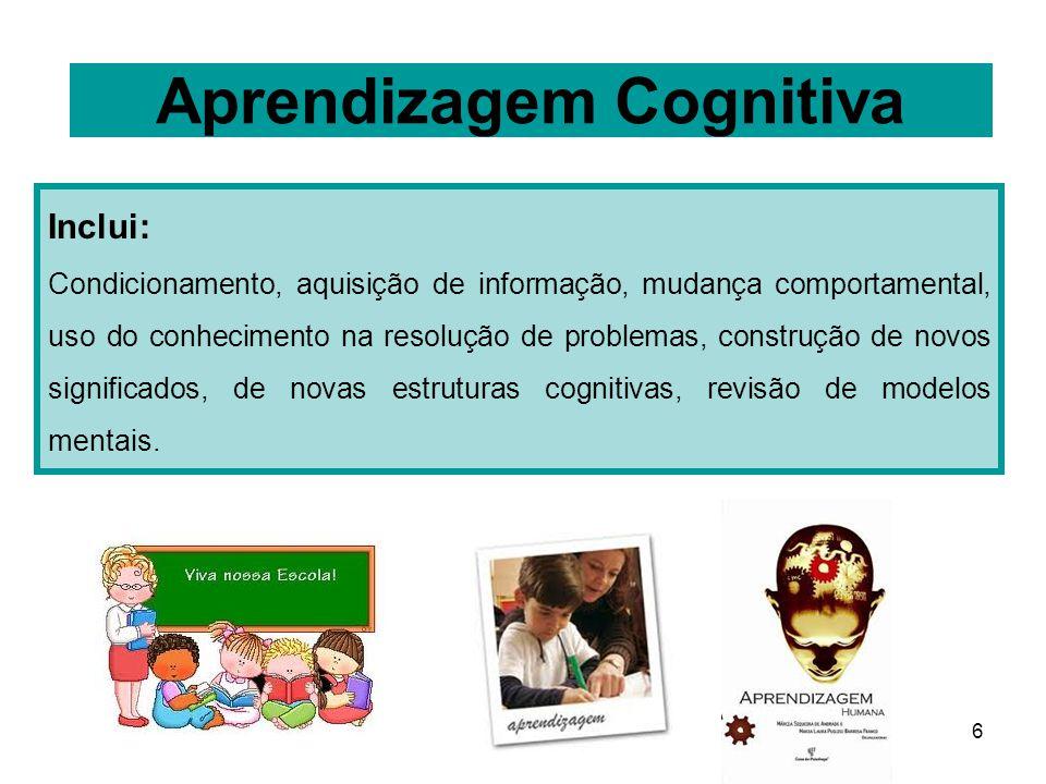 6 Aprendizagem Cognitiva Inclui: Condicionamento, aquisição de informação, mudança comportamental, uso do conhecimento na resolução de problemas, cons