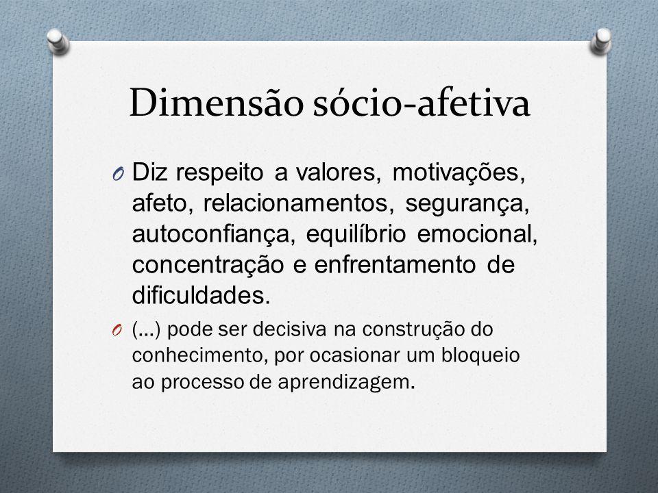 Dimensão sócio-afetiva O Diz respeito a valores, motivações, afeto, relacionamentos, segurança, autoconfiança, equilíbrio emocional, concentração e en