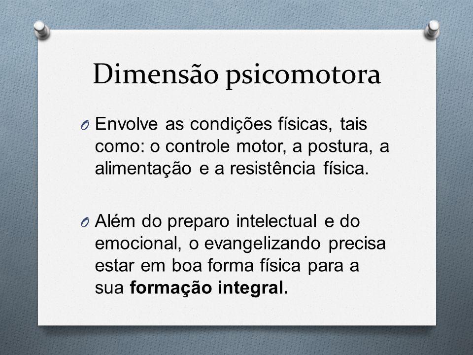 Dimensão psicomotora O Envolve as condições físicas, tais como: o controle motor, a postura, a alimentação e a resistência física. O Além do preparo i