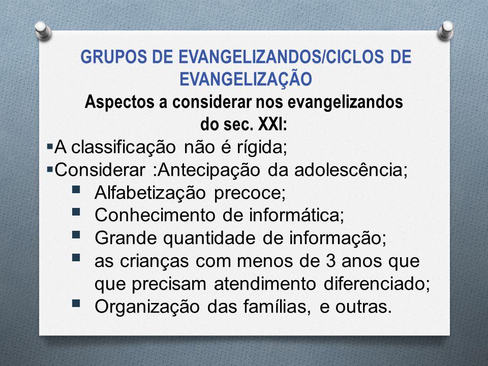 Aspectos a considerar nos evangelizandos do sec. XXI:  A classificação não é rígida;  Considerar :Antecipação da adolescência;  Alfabetização preco