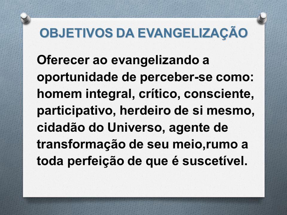 OBJETIVOS DA EVANGELIZAÇÃO Oferecer ao evangelizando a oportunidade de perceber-se como: homem integral, crítico, consciente, participativo, herdeiro