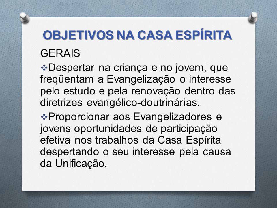 OBJETIVOS NA CASA ESPÍRITA GERAIS  Despertar na criança e no jovem, que freqüentam a Evangelização o interesse pelo estudo e pela renovação dentro da