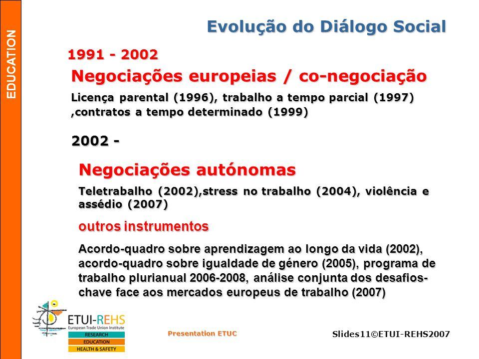 EDUCATION Presentation ETUC Slides11©ETUI-REHS2007 Evolução do Diálogo Social 1991 - 2002 2002 - Negociações europeias / co-negociação Licença parental (1996), trabalho a tempo parcial (1997),contratos a tempo determinado (1999) Negociações autónomas Teletrabalho (2002),stress no trabalho (2004), violência e assédio (2007) outros instrumentos Acordo-quadro sobre aprendizagem ao longo da vida (2002), acordo-quadro sobre igualdade de género (2005), programa de trabalho plurianual 2006-2008, análise conjunta dos desafios- chave face aos mercados europeus de trabalho (2007)