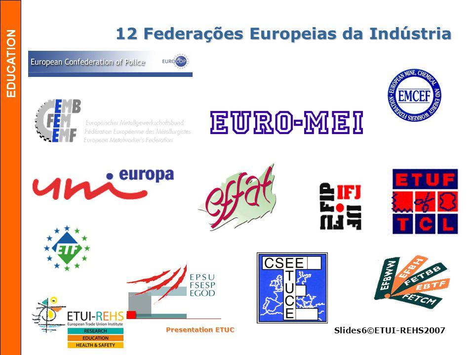 EDUCATION Presentation ETUC Slides6©ETUI-REHS2007 12 Federações Europeias da Indústria