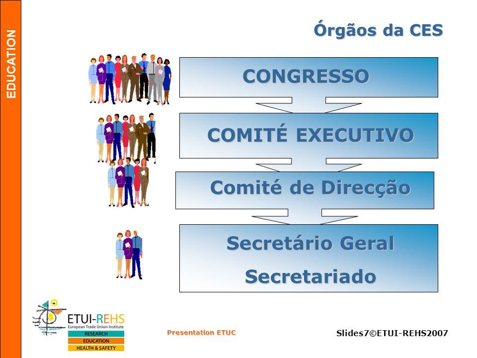 EDUCATION Presentation ETUC Slides8©ETUI-REHS2007 Objectivos & Prioridades A voz dos trabalhadores europeus Confederação Europeia de Sindicatos