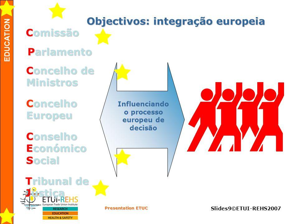 EDUCATION Presentation ETUC Slides9©ETUI-REHS2007 Objectivos: integração europeia Comissão Comissão Parlamento Concelho de Ministros Concelho de Ministros Conselho Económico Social Conselho Económico Social Concelho Europeu Influenciando o processo europeu de decisão        Tribunal de Justiça