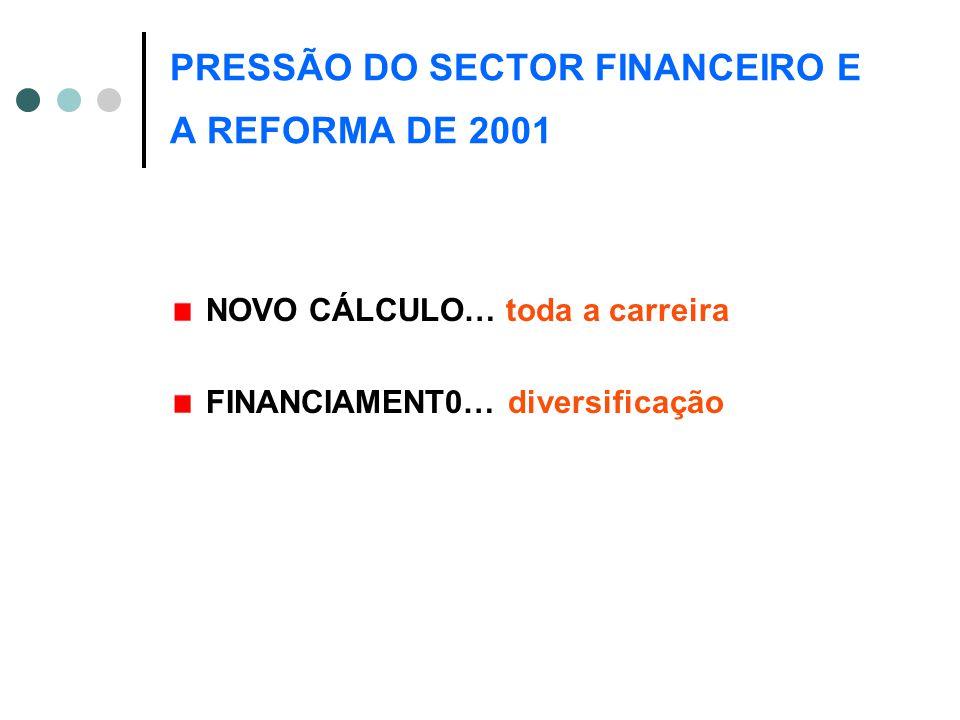 PRESSÃO DO SECTOR FINANCEIRO E A REFORMA DE 2001 NOVO CÁLCULO… toda a carreira FINANCIAMENT0… diversificação