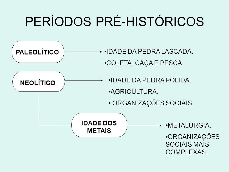 PERÍODOS PRÉ-HISTÓRICOS PALEOLÍTICO NEOLÍTICO IDADE DOS METAIS IDADE DA PEDRA LASCADA. COLETA, CAÇA E PESCA. IDADE DA PEDRA POLIDA. AGRICULTURA. ORGAN