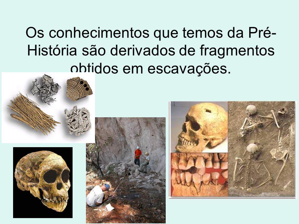 Os conhecimentos que temos da Pré- História são derivados de fragmentos obtidos em escavações.
