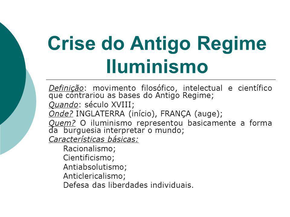 Crise do Antigo Regime Iluminismo Definição: movimento filosófico, intelectual e científico que contrariou as bases do Antigo Regime; Quando: século X