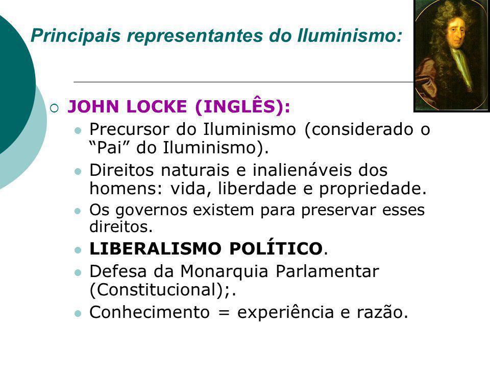 """Principais representantes do Iluminismo:  JOHN LOCKE (INGLÊS): Precursor do Iluminismo (considerado o """"Pai"""" do Iluminismo). Direitos naturais e inali"""
