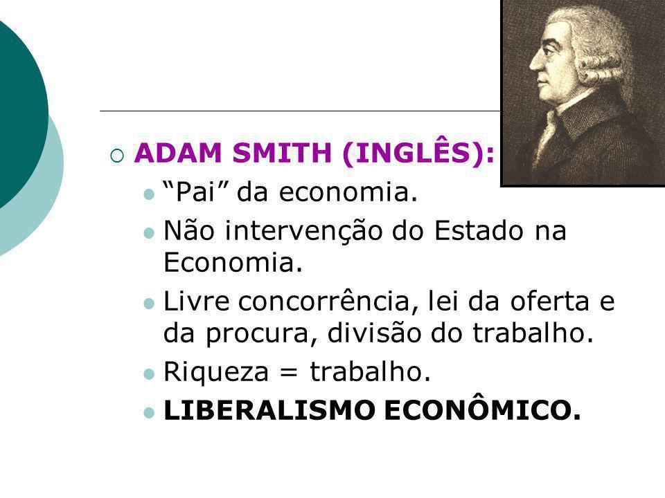 """ ADAM SMITH (INGLÊS): """"Pai"""" da economia. Não intervenção do Estado na Economia. Livre concorrência, lei da oferta e da procura, divisão do trabalho."""
