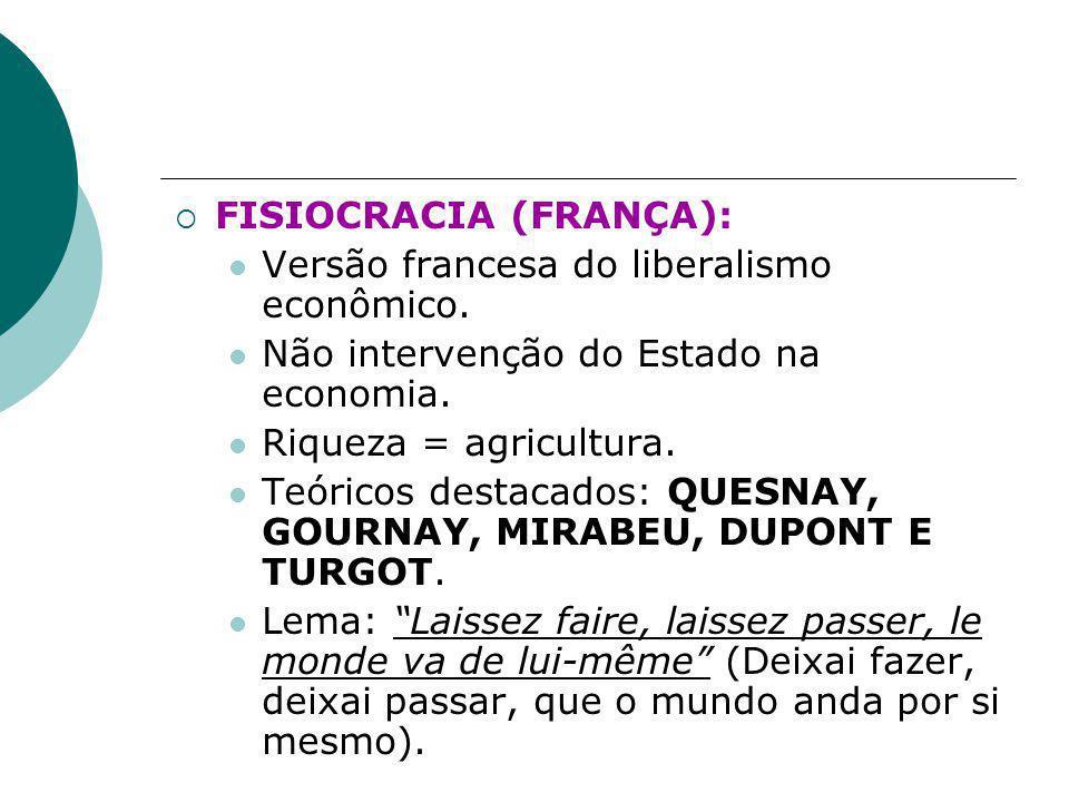  FISIOCRACIA (FRANÇA): Versão francesa do liberalismo econômico.