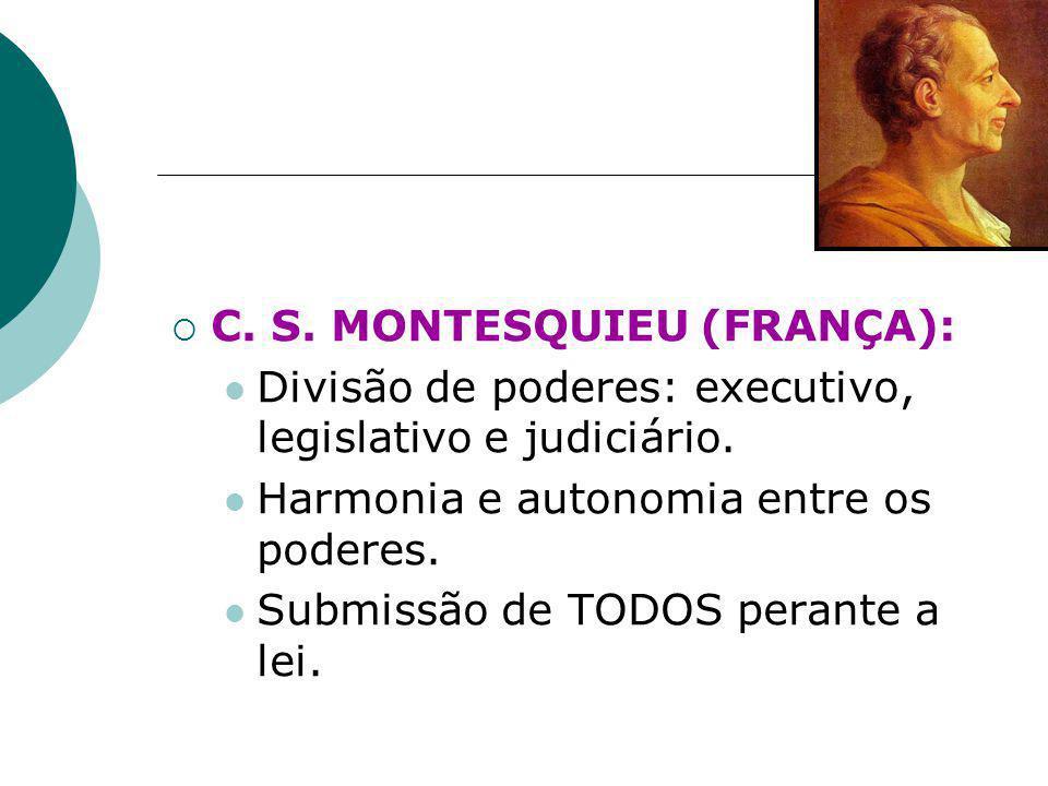  C. S. MONTESQUIEU (FRANÇA): Divisão de poderes: executivo, legislativo e judiciário. Harmonia e autonomia entre os poderes. Submissão de TODOS peran