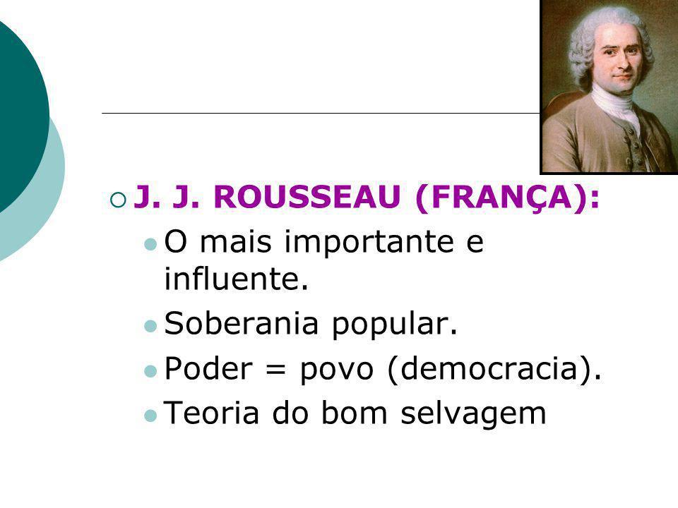  J. J. ROUSSEAU (FRANÇA): O mais importante e influente. Soberania popular. Poder = povo (democracia). Teoria do bom selvagem