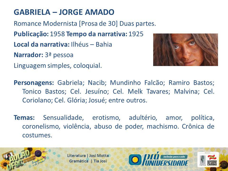 GABRIELA – JORGE AMADO Romance Modernista [Prosa de 30] Duas partes. Publicação: 1958 Tempo da narrativa: 1925 Local da narrativa: Ilhéus – Bahia Narr