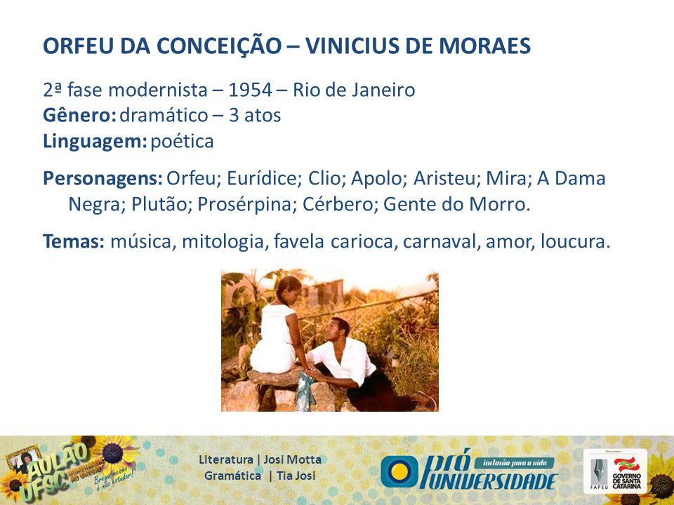 ORFEU DA CONCEIÇÃO – VINICIUS DE MORAES 2ª fase modernista – 1954 – Rio de Janeiro Gênero: dramático – 3 atos Linguagem: poética Personagens: Orfeu; E