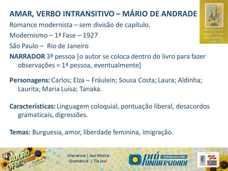 AMAR, VERBO INTRANSITIVO – MÁRIO DE ANDRADE Romance modernista – sem divisão de capítulo. Modernismo – 1ª Fase – 1927 São Paulo – Rio de Janeiro NARRA