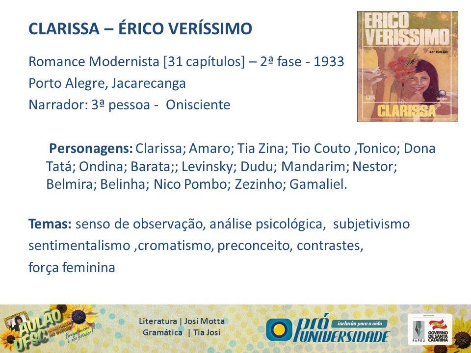CLARISSA – ÉRICO VERÍSSIMO Romance Modernista [31 capítulos] – 2ª fase - 1933 Porto Alegre, Jacarecanga Narrador: 3ª pessoa - Onisciente Personagens: